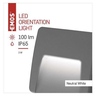Emos ZC0114 LED orientační přisazené svítidlo, 3W neutrální bílá, IP65 - 2