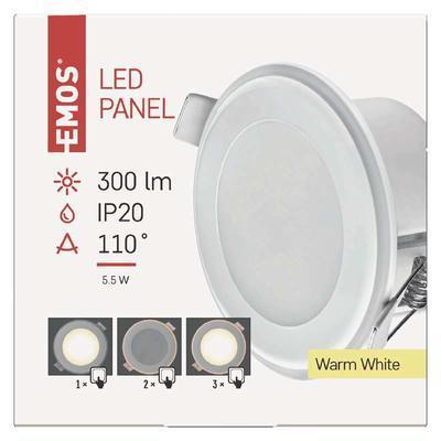 Emos ZD 1311LED panel 2v1 82mm, kruhový vestavný, 5,5W teple bílá - 2