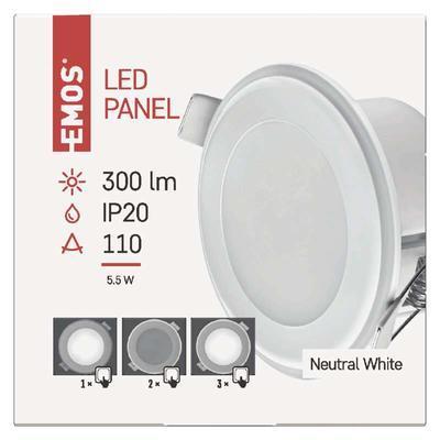 EMOS ZD 1312 LED panel 2v1 82mm, kruhový vestavný, 5,5W neutrální bílá - 2