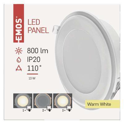 Emos ZD 1321 LED panel 2v1 148mm, kruhový vestavný, 13W teple bílá - 2