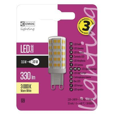 Emos ZQ9530 LED žárovka Classic JC A++ 3,5W G9 teplá bílá - 2