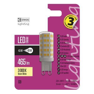 Emos ZQ9540 LED žárovka  Classic JC A++ 4,5W G9 teplá bílá - 2