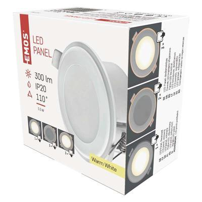 Emos ZD 1311LED panel 2v1 82mm, kruhový vestavný, 5,5W teple bílá - 3
