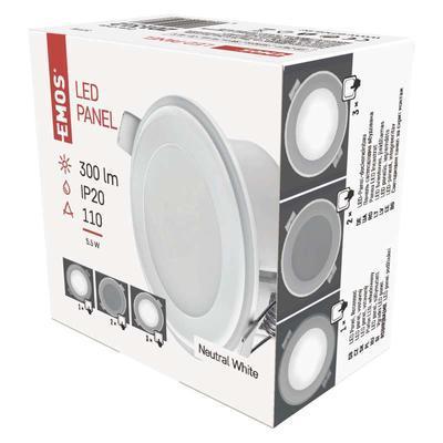 EMOS ZD 1312 LED panel 2v1 82mm, kruhový vestavný, 5,5W neutrální bílá - 3